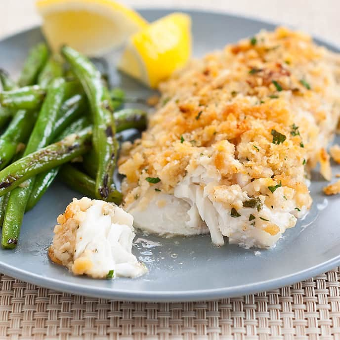 Baked Haddock with Garlic Green Beans