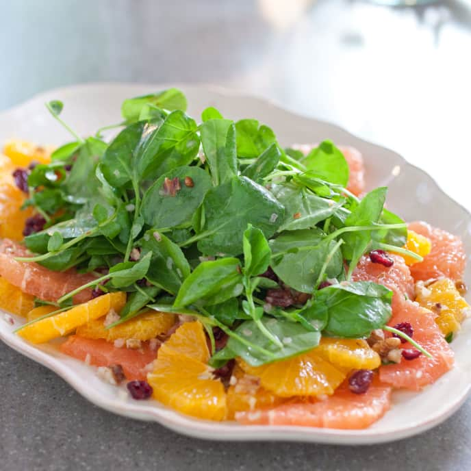 Citrus Salad With Watercress, Dried Cranberries, and Pecans