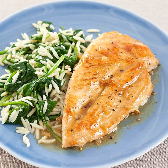 Skillet Chicken with Spinach Orzo