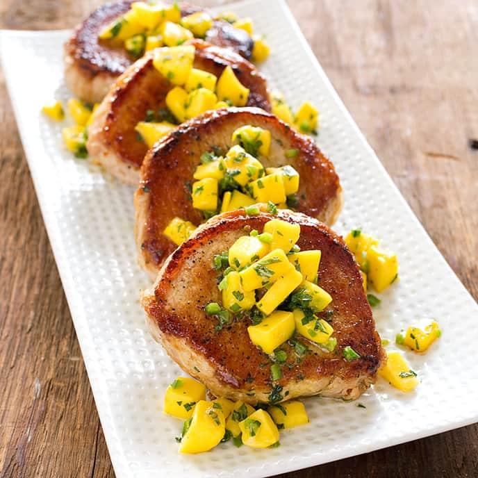 Boneless Pork Chops with Mango-Mint Salsa