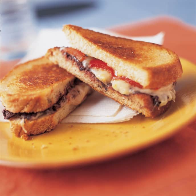 Grilled Fresh Mozzarella Sandwiches with Olive Paste and Roasted Red Peppers