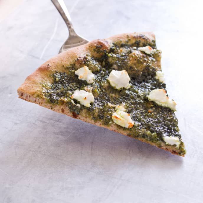 Thin-Crust Whole-Wheat Pizza with Pesto and Goat Cheese