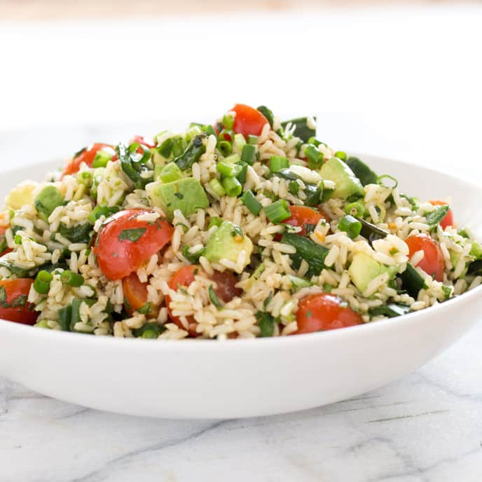 Brown Rice Salad with Jalapenos, Tomatoes, and Avocado