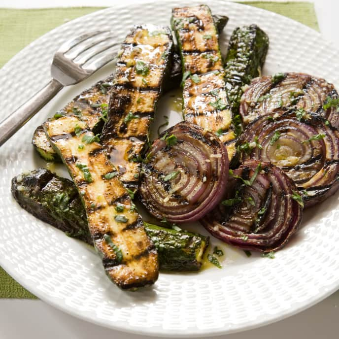 Grilled Portobellos and Shallots with Rosemary-Dijon Vinaigrette