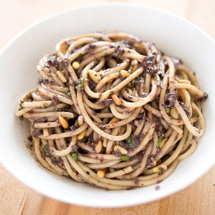 Spaghetti with Black Olive Tapenade