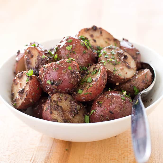 Boiled Potatoes with Black Olive Tapenade