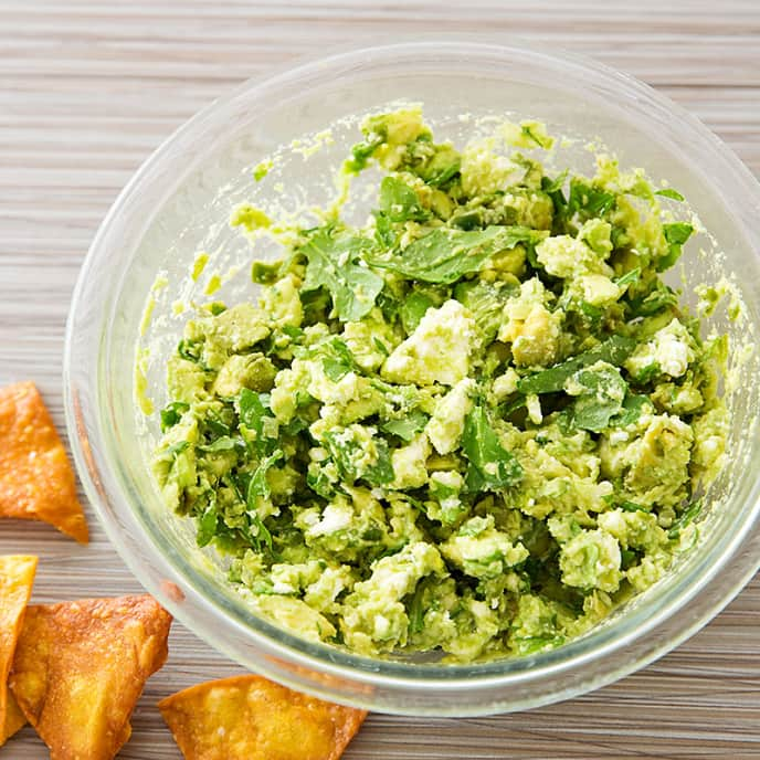 Feta and Arugula Guacamole