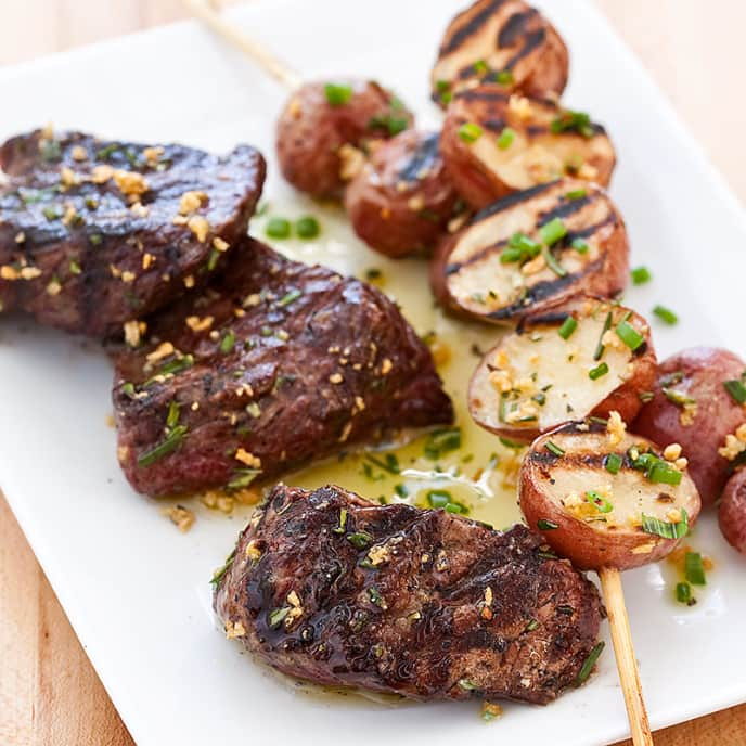 Grilled Steak Tips with Red Potato Skewers