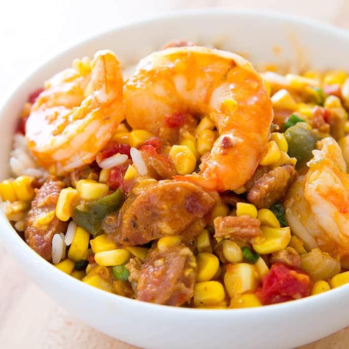 Maque Choux with Shrimp