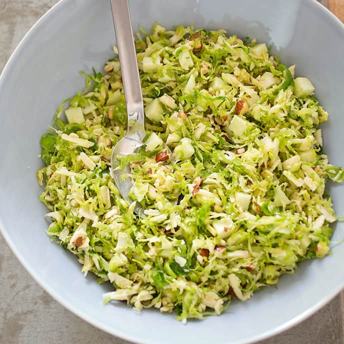 Brussels Sprout Salad with Cheddar, Hazelnuts, and Apple