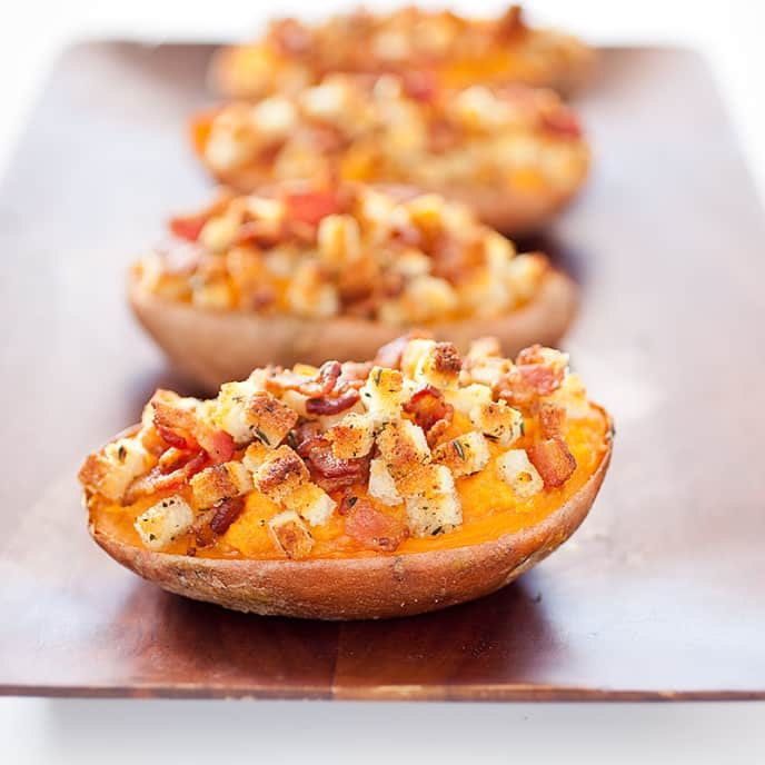 Twice-Baked Sweet Potatoes with Bacon Topping