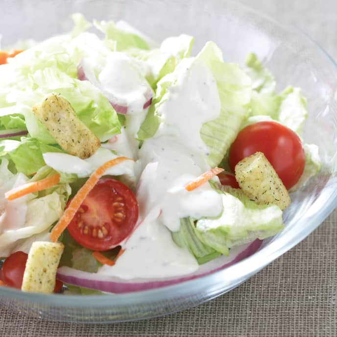 Leafy Salad with Blue Cheese Dressing