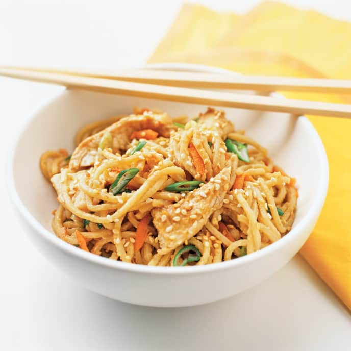 Sesame Noodles with Sweet Peppers and Cucumbers