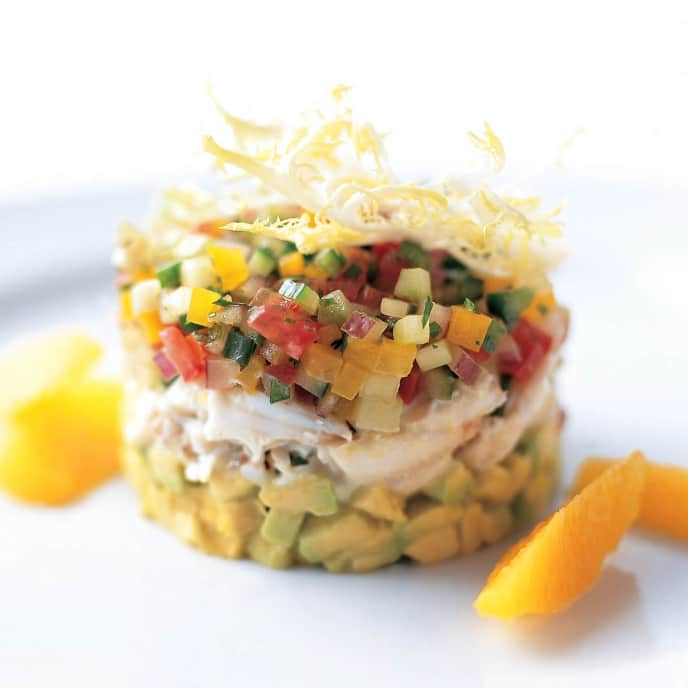 Crab Towers with Avocado & Gazpacho Salsas