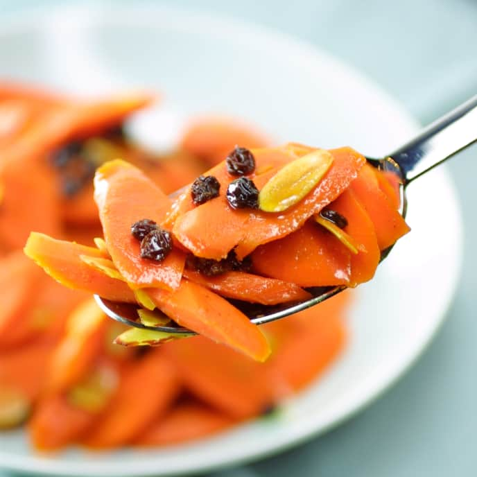 Glazed Curried Carrots with Currants and Almonds