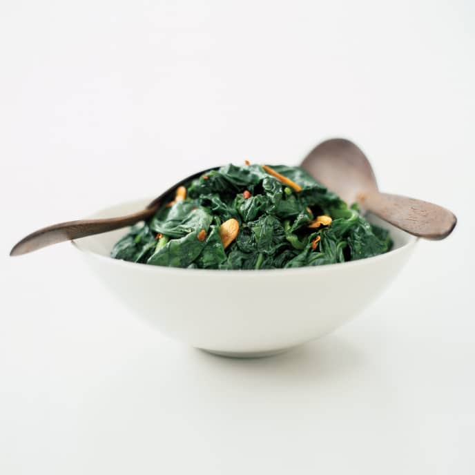 Sauteed Spinach with Almonds and Golden Raisins
