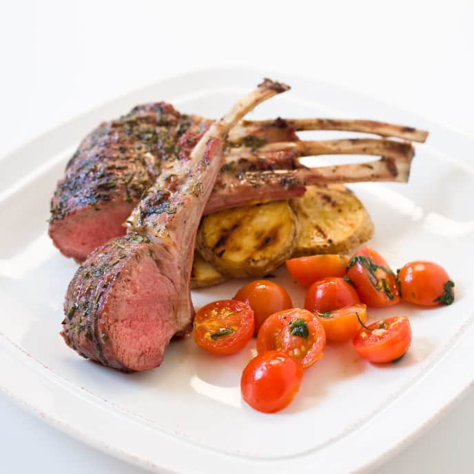 Grilled Rack of Lamb on a Gas Grill