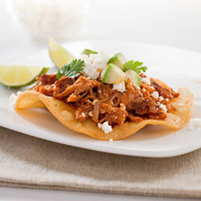 Spicy Mexican Shredded Pork Tostadas (Tinga)