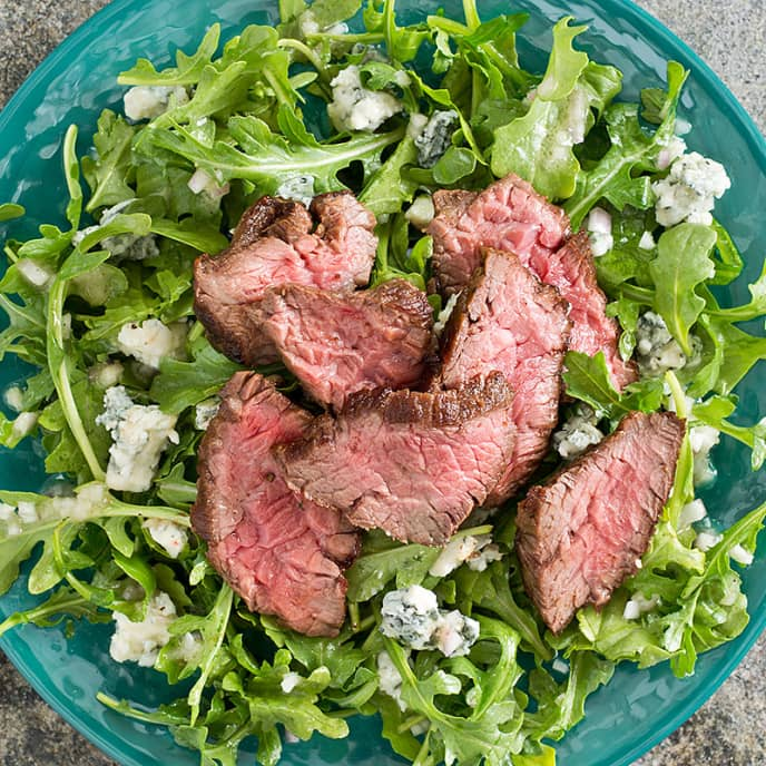 Arugula Salad with Steak Tips and Gorgonzola