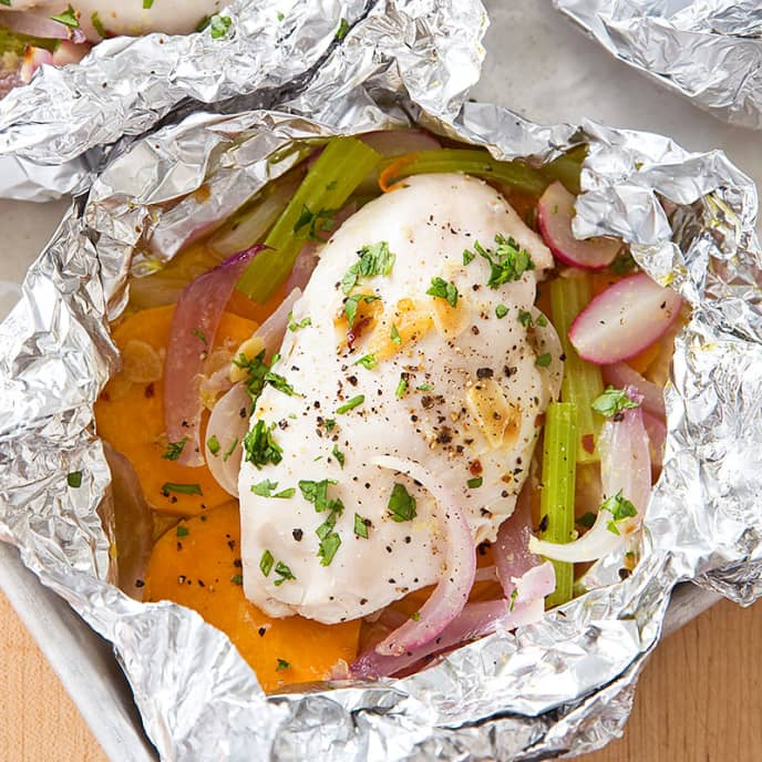 Chicken Baked in Foil with Sweet Potato and Radish