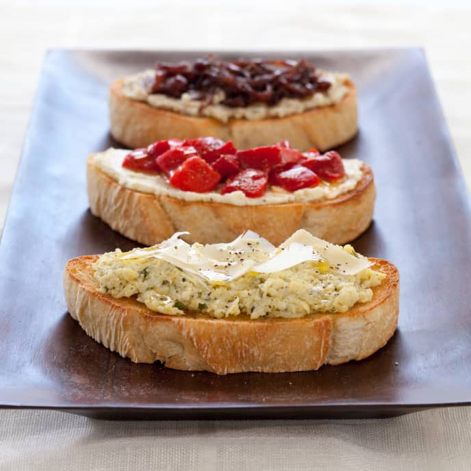 Bruschetta with Whipped Feta and Roasted Red Peppers