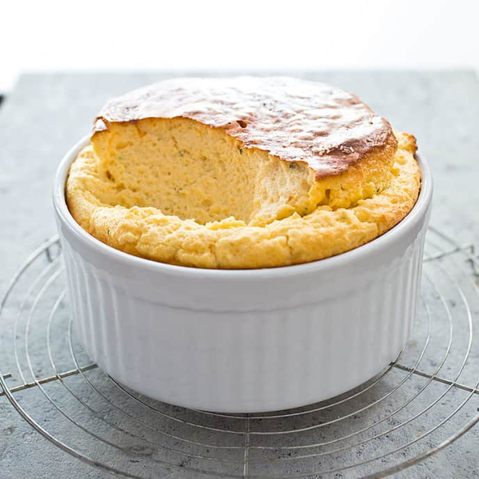 Cheese Soufflé with Shallots and Herbs