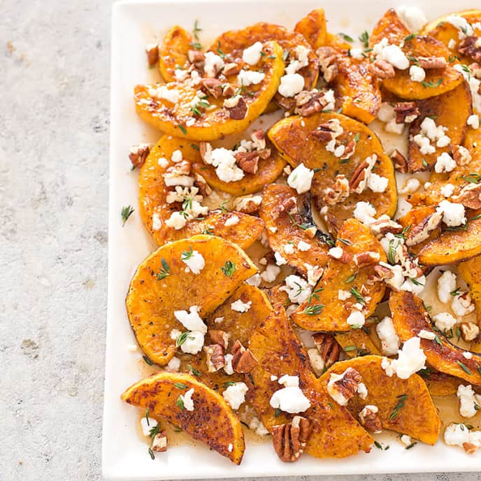 Roasted Butternut Squash with Goat Cheese, Pecans, and Maple