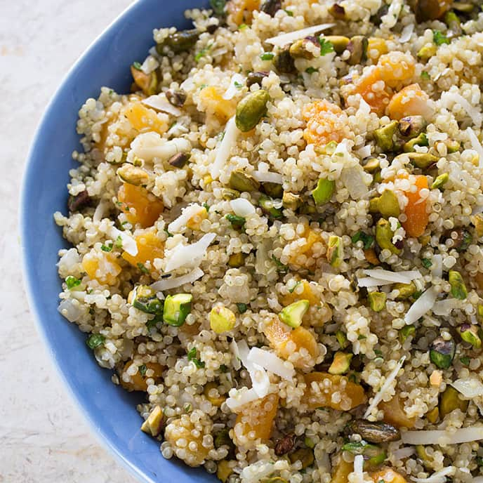 Quinoa Pilaf with Apricots, Aged Gouda, and Pistachios