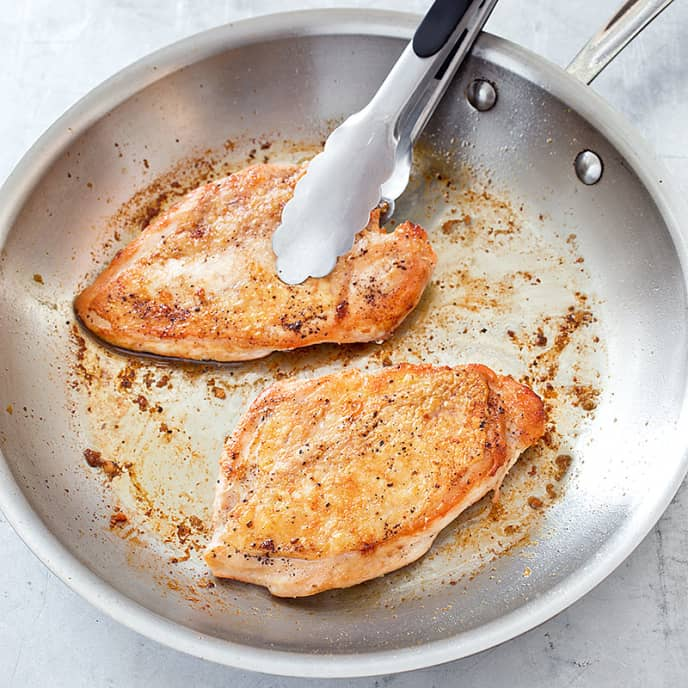 Crispy-Skinned Chicken Breasts with Lemon-Rosemary Pan Sauce