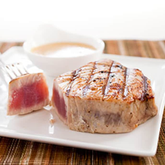 Charcoal-Grilled Tuna Steaks with Charmoula Vinaigrette