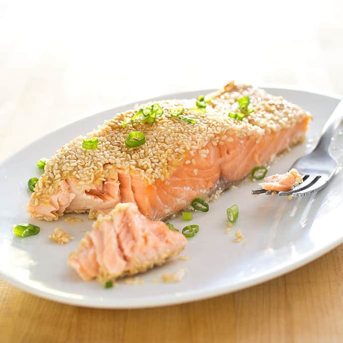 Sesame-Crusted Salmon with Orange and Chili Powder