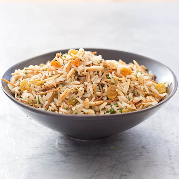 Rice and Pasta Pilaf with Golden Raisins and Almonds