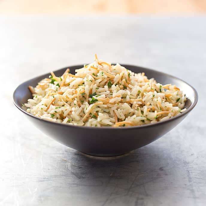 Rice and Pasta Pilaf with Crispy Shallots and Pistachios