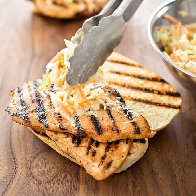 Grilled Chicken Sandwiches with Red Curry Slaw