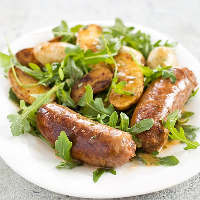 Skillet Sausage and Potatoes with Arugula