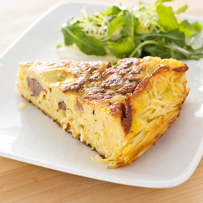 Pasta Frittata with Mushrooms and Gorgonzola