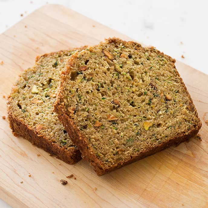 Zucchini Bread with Pistachios and Orange