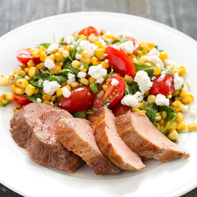 Pork Tenderloin with Corn, Tomato, and Goat Cheese Salad
