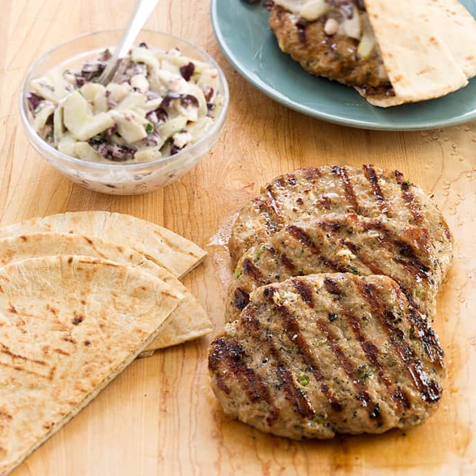 Grilled Turkey Pitas with Cucumber Salad
