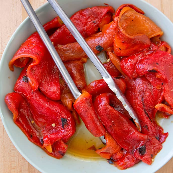 Grill-Roasted Peppers with Rosemary