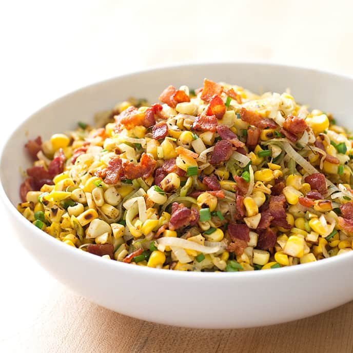 Sauteed Corn with Bacon and Leeks