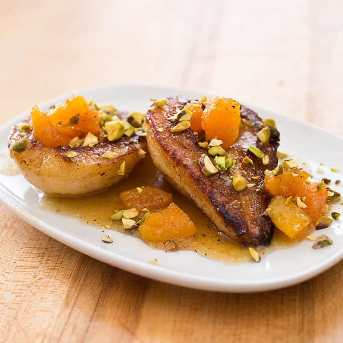Roasted Pears with Dried Apricots and Pistachios