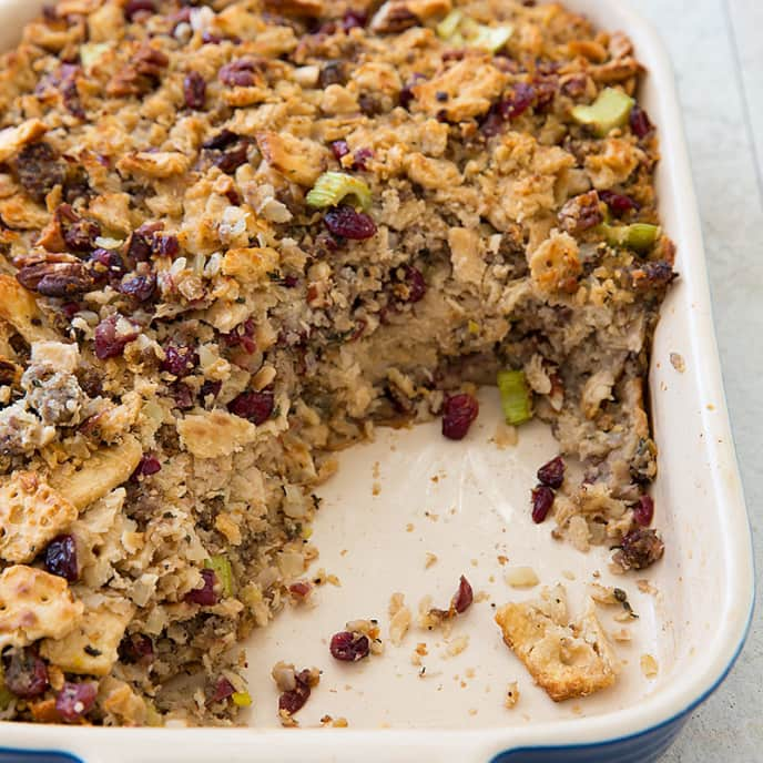 Cracker Dressing with Dried Cranberries and Pecans