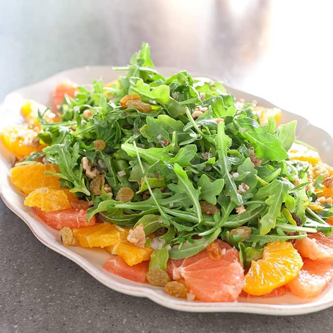 Citrus Salad with Arugula, Golden Raisins, and Walnuts