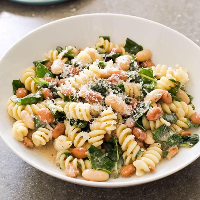 Pasta with Beans, Chard, and Rosemary for Two