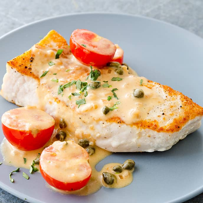 Pan-Seared Swordfish with Creamy Dijon-Caper Sauce