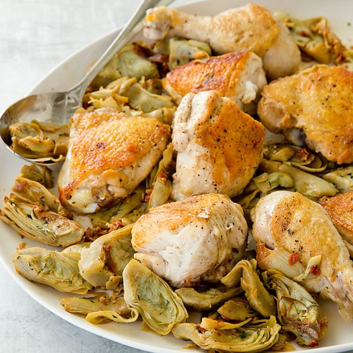 Roasted Chicken with Artichoke Hearts and Pancetta