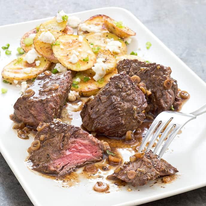 Steak Tips with Roasted Feta Potatoes
