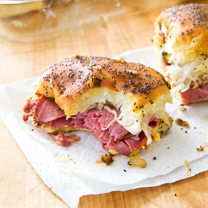 Pastrami and Swiss Football Sandwiches