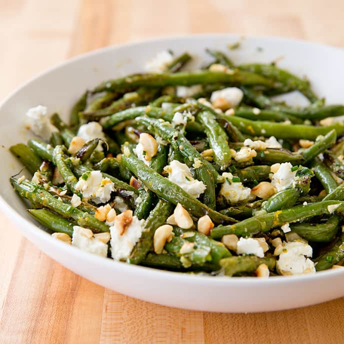 Roasted Green Beans with Goat Cheese and Hazelnuts